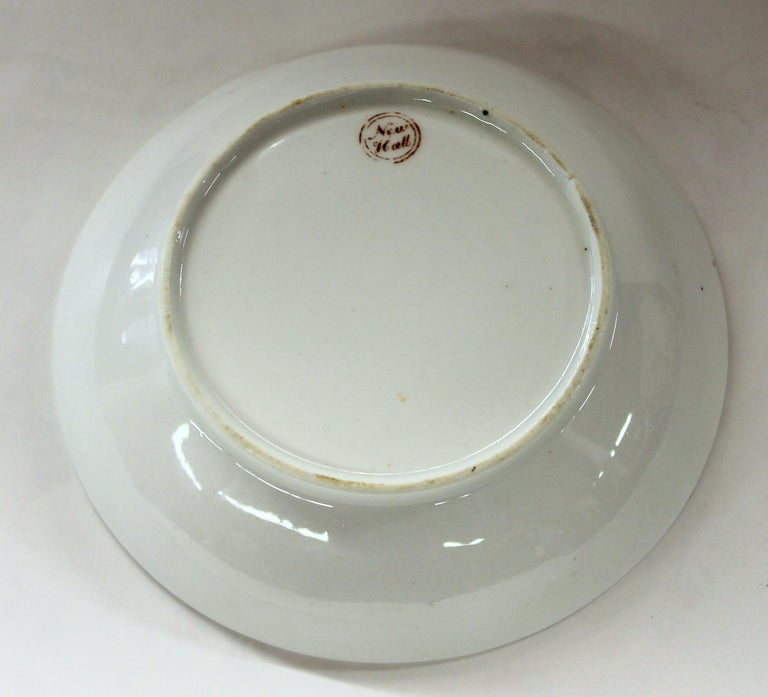 English Early 19th Century New Hall Porcelain Floral Decor Cup and Saucer For Sale 3