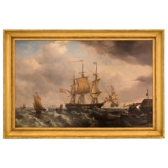 English Early 19th Century Oil on Canvas Painting of a Maritime Scene