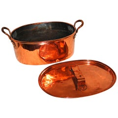 English Early 19th Century Oval Copper Roasting Pan or Cauldron with Lid