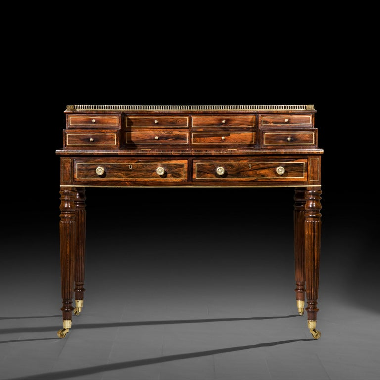 A fine Regency period Carlton House desk,  London, circa 1815.  Why we like it 'Carlton House' desks are rare, mostly dating to the late George III period, so this very fine, particularly elegant Regency example in well figured palisander