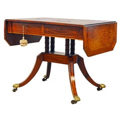 English Early 19th Century Regency Rose Wood and Satinwood Inlay Sofa Table
