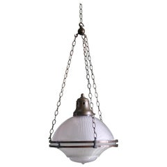 English Large Holophane Prismatic Glass and Bronze Chandelier Light Lantern