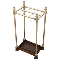 English Early 20th Century Brass and Iron Umbrella Stand