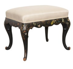 Early-20th Century English Chinoiserie Hand-Painted and Cabriole Leg Stool