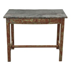 English Early 20th Century Zinc Top Garden Table