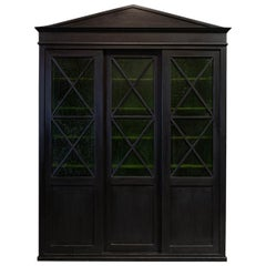 English Ebonized Architectural Glazed Bookcase / Cabinet