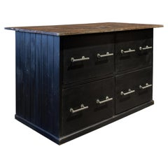 English Ebonized Hat Shop Counter Kitchen Island