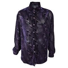 English Eccentrics Mens Vintage Silk Devoré Burnout Velvet Shirt, 1990s