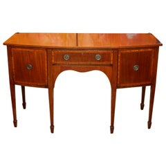 English Edwardian Bowfront Sideboard Inlaid Mahogany Credenza