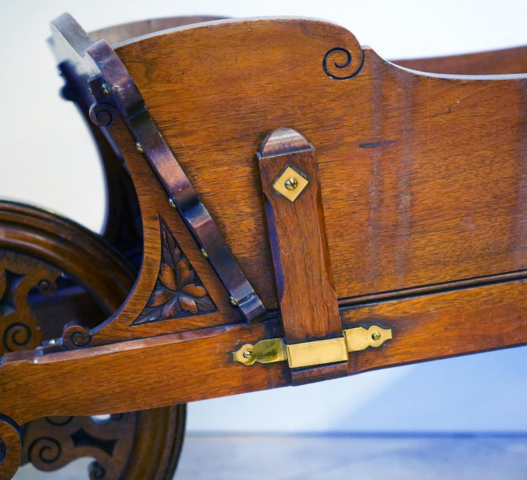 Hand-Carved English Edwardian Carved and Brass Mounted Mahogany Library Book Wheel Barrow For Sale