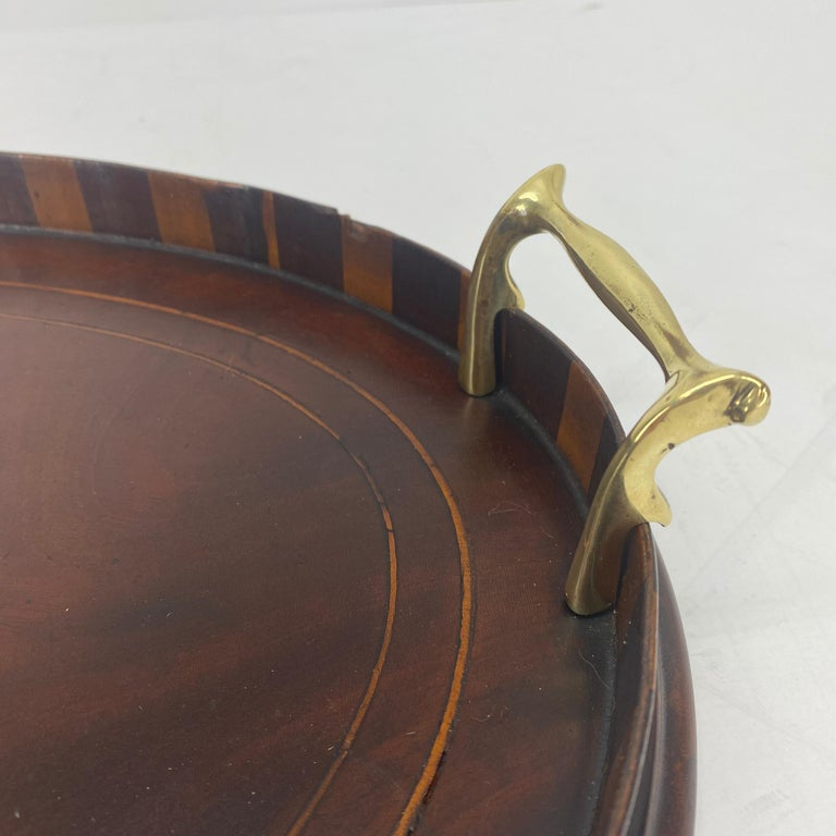 English Edwardian Mahogany and Fruitwood Inlaid Bar Tray with Brass Handles For Sale 6