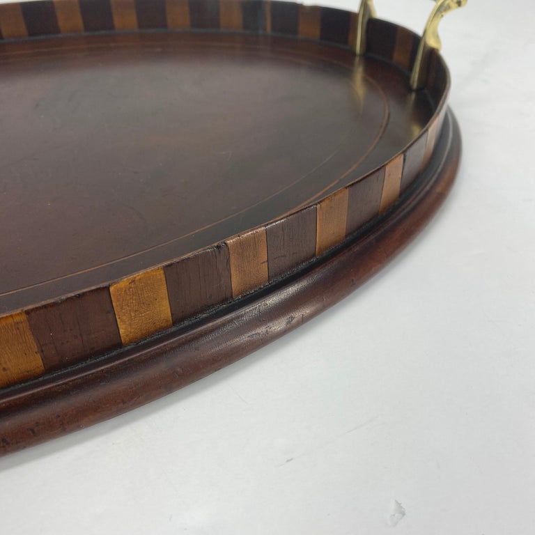 English Edwardian Mahogany and Fruitwood Inlaid Bar Tray with Brass Handles For Sale 7
