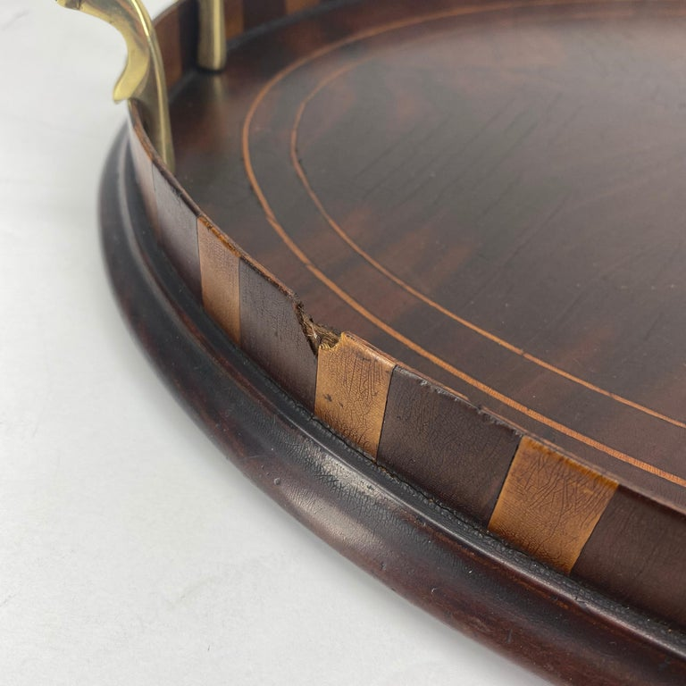 English Edwardian Mahogany and Fruitwood Inlaid Bar Tray with Brass Handles For Sale 8