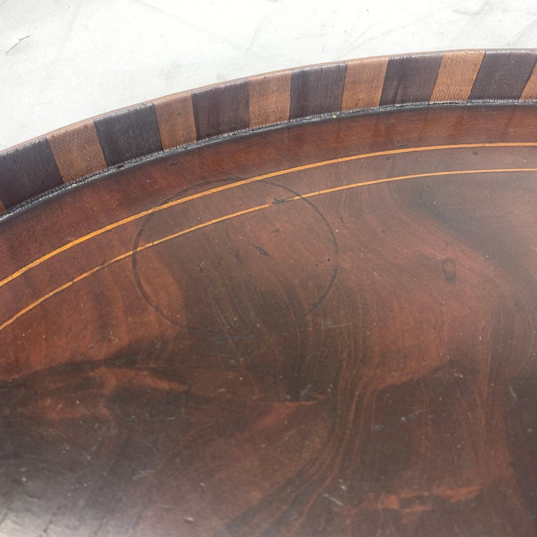 English Edwardian Mahogany and Fruitwood Inlaid Bar Tray with Brass Handles For Sale 10