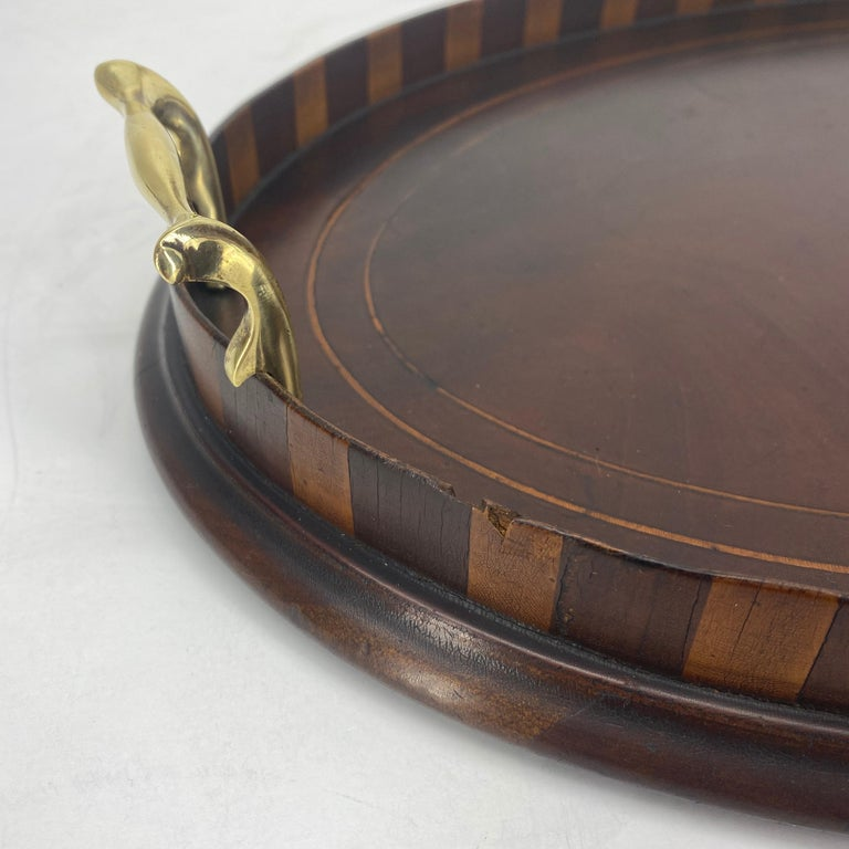 English Edwardian Mahogany and Fruitwood Inlaid Bar Tray with Brass Handles For Sale 12