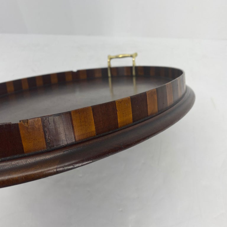 English Edwardian Mahogany and Fruitwood Inlaid Bar Tray with Brass Handles For Sale 14