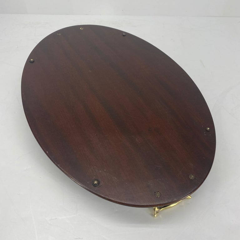 English Edwardian Mahogany and Fruitwood Inlaid Bar Tray with Brass Handles For Sale 16