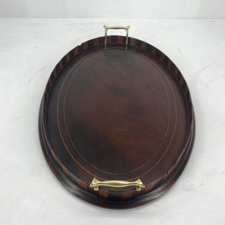 English Edwardian Mahogany and Fruitwood Inlaid Bar Tray with Brass Handles For Sale 2