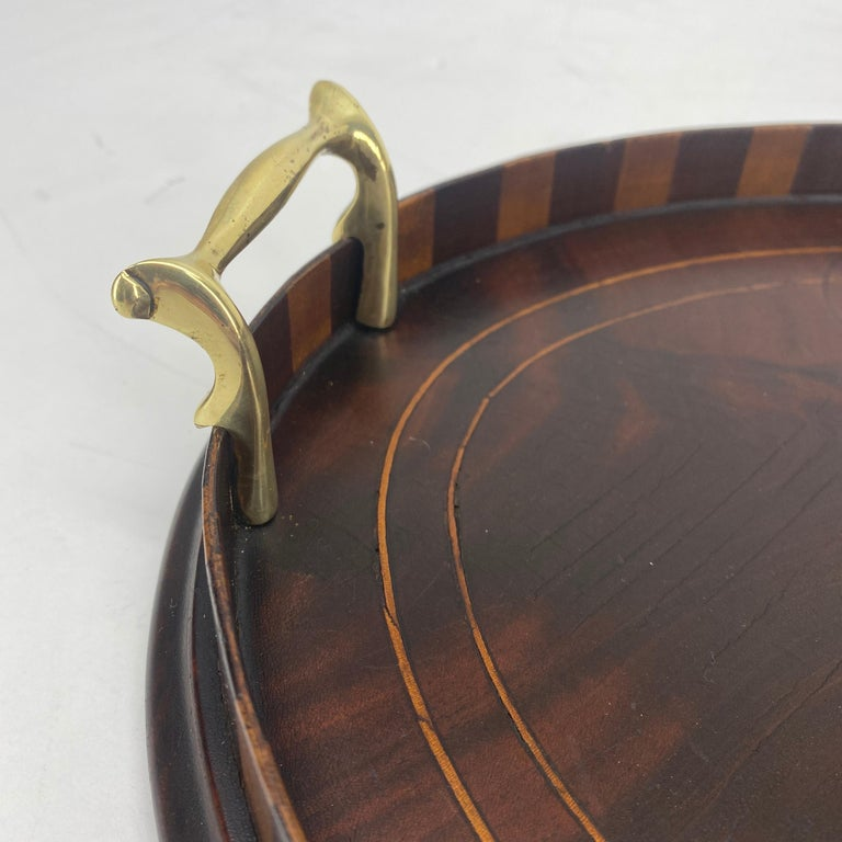 English Edwardian Mahogany and Fruitwood Inlaid Bar Tray with Brass Handles For Sale 5