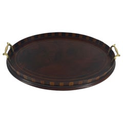 English Edwardian Mahogany and Fruitwood Inlaid Bar Tray with Brass Handles