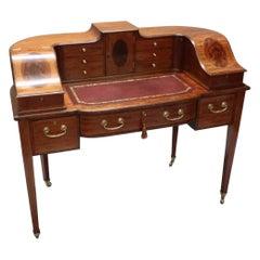 English Edwardian Mahogany and Kingwood Carlton House Writing Desk