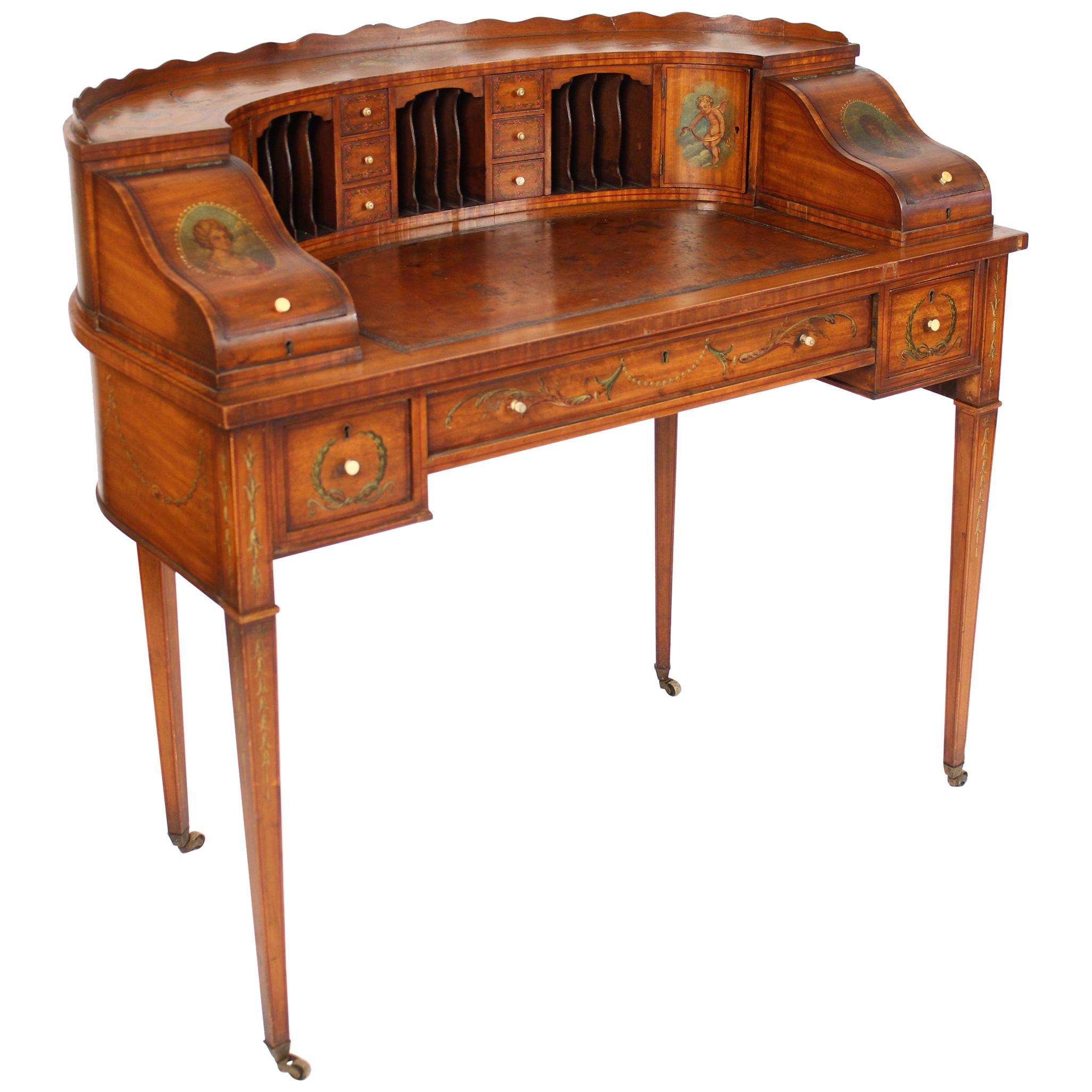 English Edwardian Painted Satinwood Carlton House Desk