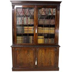 English Edwardian Period Chippendale Style Mahogany Bookcase