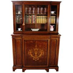English Edwardian Period Inlaid Mahogany Bookcase/Cabinet by Jas Shoolbred