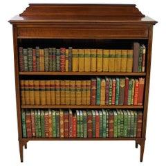 English Edwardian Period Inlaid Mahogany Open Bookcase