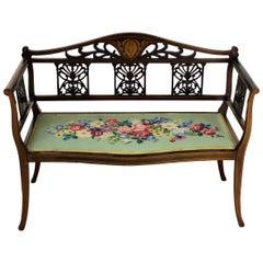 English Edwardian Period Inlaid Mahogany Settee or Bench