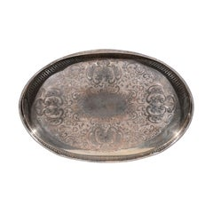 English Edwardian Period Silver Plated Tray with Pierced Motifs and C-Scrolls