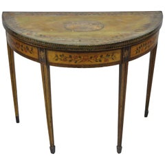 English Edwardian Polychrome Adams Painted Demilune Console Game Table