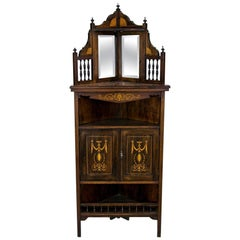 English Edwardian Rosewood Inlaid Corner Cabinet