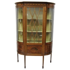 English Edwardian Satinwood Inlay Bowed Curved Glass China Display Cabinet Curio
