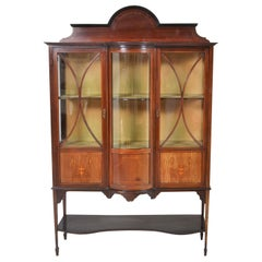 English Edwardian Sheraton Revival Inlaid Mahogany China Cabinet, circa 1895