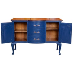 English Edwardian Sideboard Blue Painted Credenza