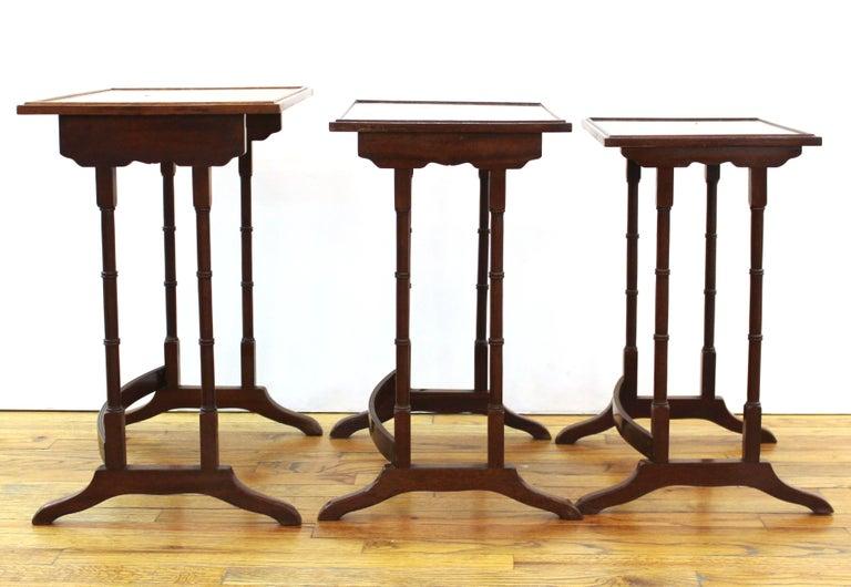 Wood English Edwardian Style Nesting Tables For Sale