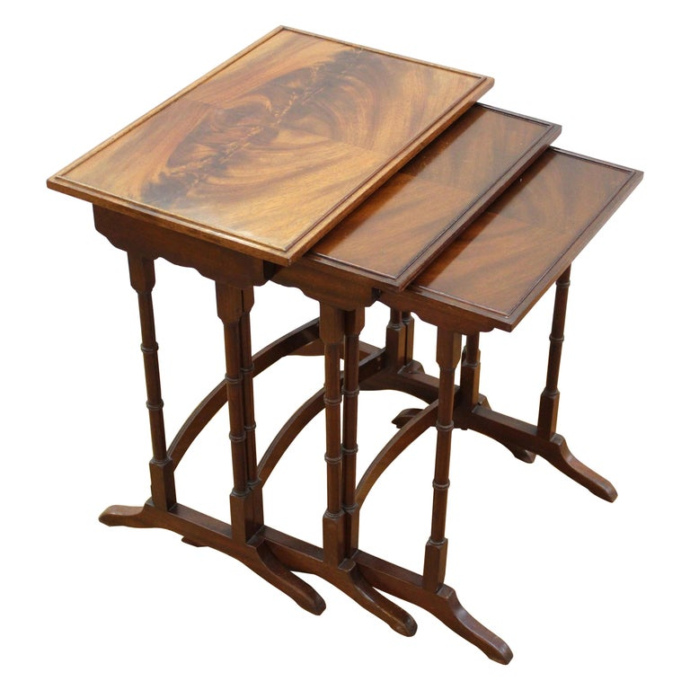 English Edwardian Style Nesting Tables For Sale