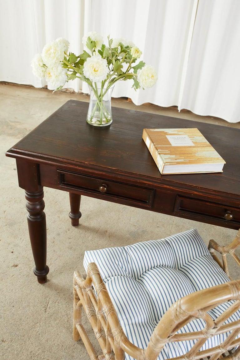 English Edwardian Style Turned Leg Pine Writing Table Desk For Sale 4