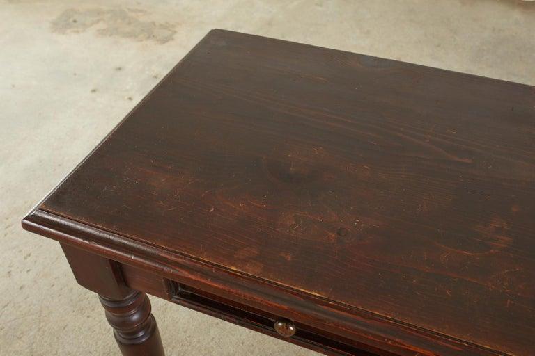 English Edwardian Style Turned Leg Pine Writing Table Desk For Sale 5