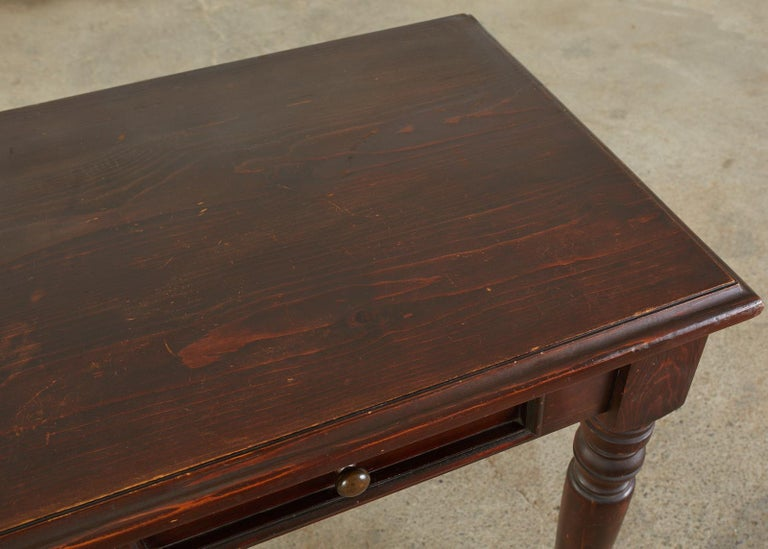 English Edwardian Style Turned Leg Pine Writing Table Desk For Sale 6