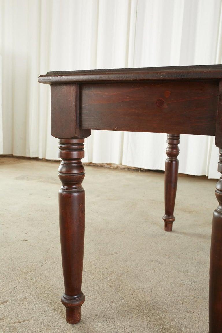 English Edwardian Style Turned Leg Pine Writing Table Desk For Sale 10