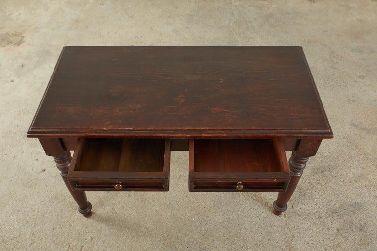 20th Century English Edwardian Style Turned Leg Pine Writing Table Desk For Sale