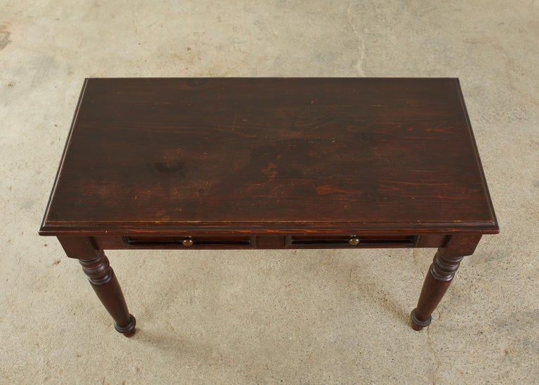 English Edwardian Style Turned Leg Pine Writing Table Desk For Sale 2