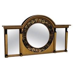 English Eglomise & Figural Gilt Convex Over Mantel Mirror. Signed J.C. Circa 18