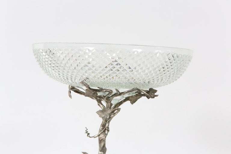 English Elkington Silver Plated / Cut Crystal Epergne For Sale 4