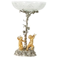 English Elkington Silver Plated / Cut Crystal Epergne