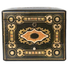 English Embossed Leather Jewelry Box