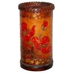 English Embossed Leather Wastebasket or Stick Stand Poppies and Star Motifs