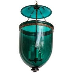 English Emerald Green Hanging Bell Jar Lantern